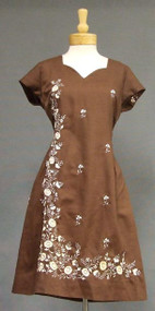 Chocolate Linen 1960's Day Dress w/ Cream Embroidery