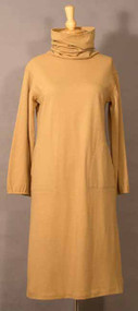 1970's Bonnie Cashin Camel Wool Cowl/Hood Dress