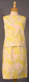 Cute Yellow Floral 1960's Two Piece