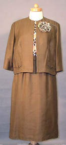 NEAT Brown & White 1960's Dress & Jacket