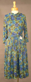 Floral Nylon 1960's Day Dress w/ Draped Neckline
