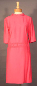 Vibrant Rose 1960's Drop Waisted Day Dress