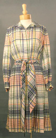FUN Bill Blass Pleated Plaid Day Dress