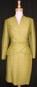 Chartreuse Wool Boucle Asymmetrical Lilli Ann Suit