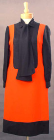 FAB Geoffrey Beene Fiery Red & Black 1960's Day Dress