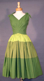 AWESOME Tri-Tone Green Cotton 1950's Sun Dress