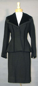 GORGEOUS Lilli Ann Black Wool & Velvet 1950's Suit