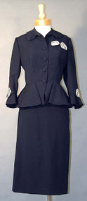 KNOCKOUT Navy Wool Lilli Ann Suit w/ Striped Bows