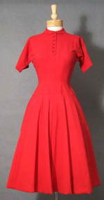 Red Wool Anne Fogarty 1950's 'Paper Doll' Day Dress