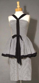 BOMBSHELL Black & White Pin Striped 1950's Wiggle Dress w/ Peplum