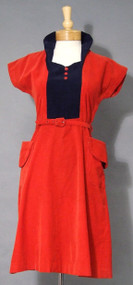 Terrific Red & Navy Corduroy 1950's Dress