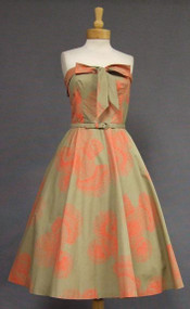 SUPERB Khaki & Coral 1950's Strapless Sun Dress w/ Bolero