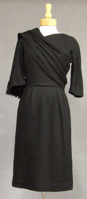 Elegant Black Wool 1950's Day Dress w/ Attached Wrap