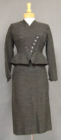 FABULOUS Charcoal Wool 1950's Suit