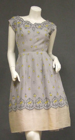 Beautiful Embroidered Grey Linen & Cream Organdy 1960's Afternoon Dress
