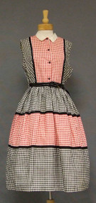 Awesome Red, Black & White Check 1950's Day Dress XL