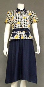 Fantastic 1940's Printed Cotton Day Dress