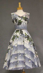 Blue Floral 1950's Dress w/ Rhinestones and Floral Applique
