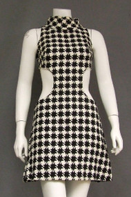 WILD Black & Cream Wool Houndstooth 1960's Dress w/ Cutouts
