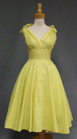 Summer Sweetheart Textured Cotton 1950's Sun Dress w/ Tie Shoulders