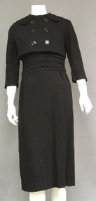Chic Black Wool 1960's Dress w/ Jacket