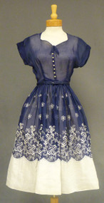 Beautiful Navy & White Organdy 1950's Dress