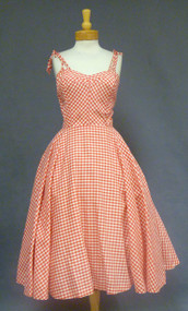 FABULOUS Red & White 1950's Sun Dress w/ Tie Straps