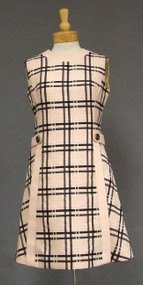 Mod Black & Pink Plaid 1960's Dress