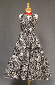 KNOCKOUT Tiana Pittelle 1950's Halter Dress w/ RED Trim
