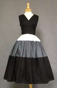 Tri Toned Cotton 1950's Sun Dress