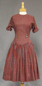 Vicky Vaughn 1950's Day Dress in Red, Black & White