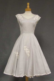 Pintucked Pearl Grey Cotton 1950's Dress w/ Lace Appliques