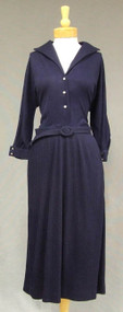 Navy Blue Wool 1960's Dress w/ RS Buttons & Pleated Skirt XL