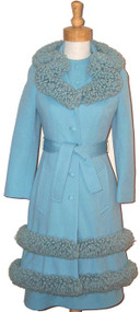 INCREDIBLE Blue Lilli Ann Suit w/ Looped Yarn Trim
