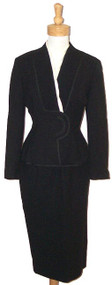 Elegant Black Wool Lilli Ann Suit w/ Fine Pleats & Cream Faille Trim