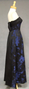 Glamorous Black & Blue Satin 1960's Evening Gown w/ Train
