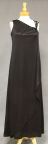 Asymmetrical Black Jersey 1970's Evening Gown