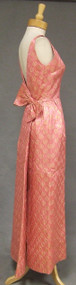 FANTASTIC Pink & Gold 1960's Evening Gown w/ Low Back