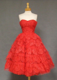 STUNNING Cherry Red Lace & Tulle Strapless 1950's Prom Dress