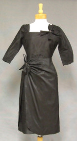 Hannah Troy Black Silk Taffeta 1950's Wiggle Dress w/ Bow Trim