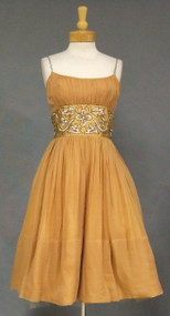 Tan Chiffon Harry Keiser 1960's Cocktail Dress w/ Beaded Waist