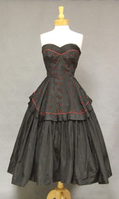 Red & Black Strapless Taffeta 1950's Prom Dress
