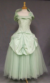 STUNNING Fred Perlberg Strapless Mint Taffeta & Tulle 1950's Ball Gown