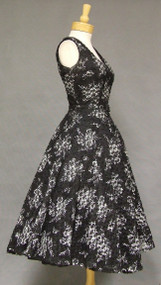 Wonderful Printed Ribbon Tulle 1950's Cocktail Dress