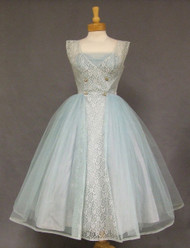 Fantastic Blue Lace & Tulle 1950's Prom Dress w/ Rhinestone Buttons