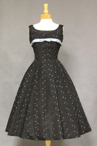 Black Taffeta 1950's Cocktail Dress w/ Turquoise Embroidery