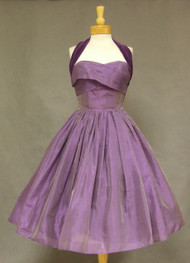 Shimmering Violet Organdy & Velvet 1950's Cocktail Dress