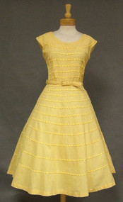 Sunny Yellow Gingham 1950's Day Dress