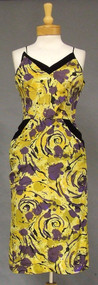 Claudia Young Printed Silk 1950's Wiggle Dress w/ Velvet Trim