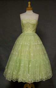Stellar Celadon Full Skirted Strapless 1950's Prom Dress Embroidery